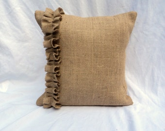 "Burlap Euro Shams with Ruffles 26"" x 26"" Burlap PIllow Covers"