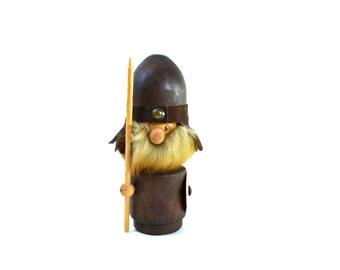 "Vintage Large Wood Viking 8"" Figurine - Mid Century Modern Scandinavian Design - Retro Wood Decor 1970s"