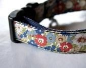 SALE / Retro blue red floral Dog Collar
