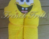 Square Sponge Guy applique embroidery hooded towel design