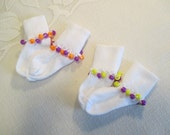 READY TO SHIP - 2 pairs of 12 to 18 Month Cuff Socks with Beaded Trim - White with Colored Beads