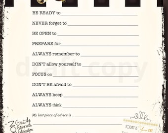 Graduation advice cards instant download