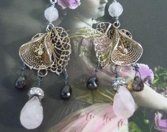 Vintage Antique Assemblage Earrings  DELICATE FLOWER filigree earrings