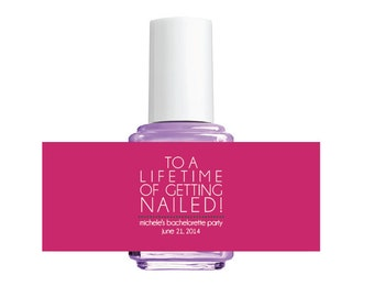 12 printed labels for Nail Polish Bachelorette Party or Bridal Shower favors