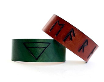 Earth Classical element leather cuffs symbol runes