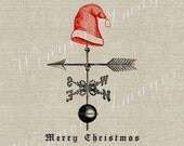 Christmas Weathervane Santa Hat.Instant Download Digital Image No.277 Iron-On Transfer to Fabric (burlap, linen) Paper Prints (cards, tags)