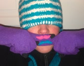 Custom Purple Mustache Gloves with Touchscreen Fingertips