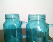 Mason Jar Mugs, Set of 2, Vintage Blue