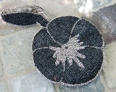 Antique 1920s, Art Deco French Steel Cut Beaded Coin purse, Black, with Silver Floral Design