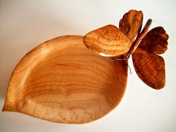 Butterfly wood carving with maple by glowingheartstudios