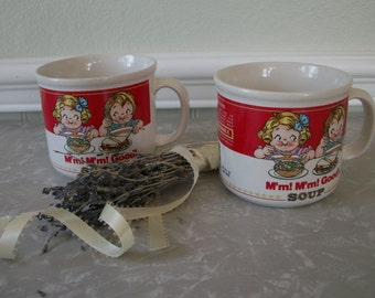 Vintage Campbell Soup Label Mugs The Campbell Kids Ceramic by Westwood International made in Korea 1989 Pair