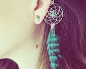 Handmade Silver Ear Cuff, Teal Dream Catcher Ear Cuff, Feather Ear Cuff, Fake Earring, Turquoise Earring, Festival,Hippie, Tragus Earring