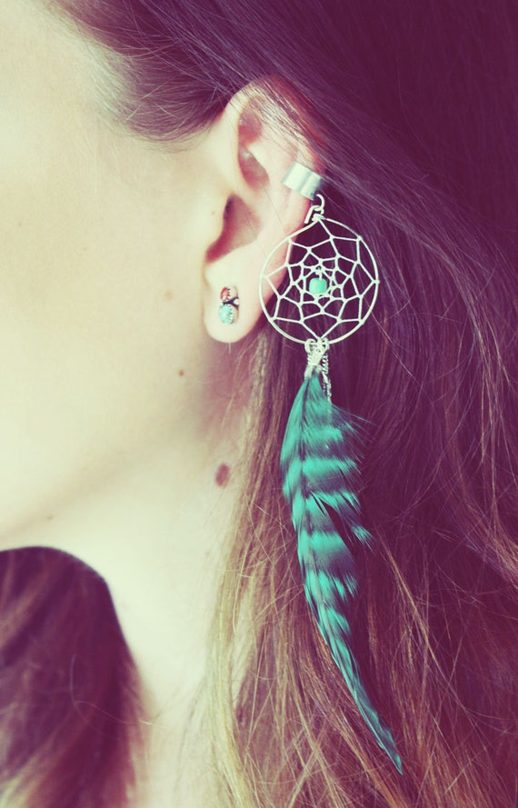 Dream Catcher Ear Cuff Handmade Silver Ear Cuff Teal Dream Catcher Ear Cuff Feather 9