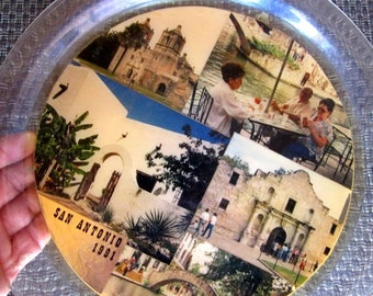 Texas Alamo plate San Antonio plastic serving dish tray snack clear lucite Vintage souvenir White Elephant gift Texana shot glass and cards