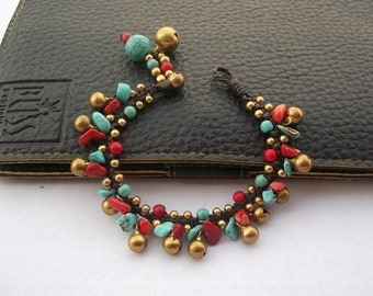 Red coral Turquoise Handmade bracelet/brass bells bracelet Thailand Fair Trade Jewelry/Charm Jewelry/Fashion of summer/gift for her/lucky br