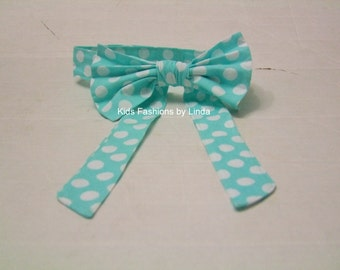 Adult Woman Aqua Dot  Bow Tie with Neck Strap