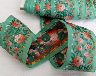 1.375 Vintage French Floral Embroidered Light Green Jacquardribbon trim #900-04