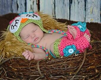 Newborn Baby Girl Sleepy Crochet OWL Hot PINK Green Blue Diaper Cover, Leg Warmers -n- Beanie Hat Set -- Cute Photo Prop For Portrait