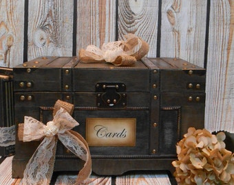 Wedding Card Box / Wedding Trunk Card Holder / Rustic Wedding Trunk / Wooden Trunk / Wedding Cardholder / Rustic/Shabby Wedding