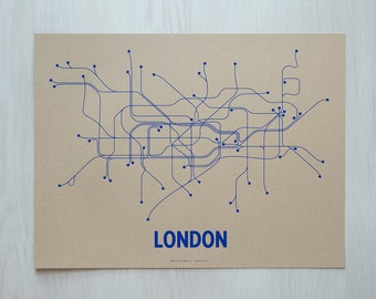 London Screen Print - Tan/Blue