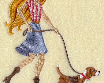 Beagle Walk in the Park Embroidered Flour Sack Hand/Dish Towel