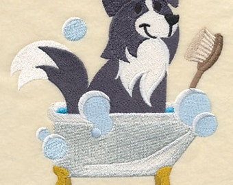 Border Collie in a Tub Embroidered Flour Sack Hand/Dish Towel