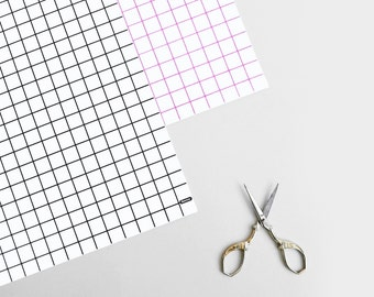 Grid Gift Wrap / Wrapping Paper / Black Pink Graph