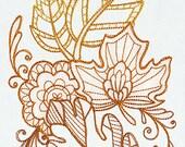 Lavish Autumn Leaves Embroidered Flour Sack Hand/Dish Towel