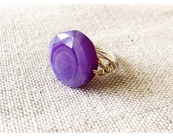 Mixed metal wire wrapped Purple Agate ring// size 7.5