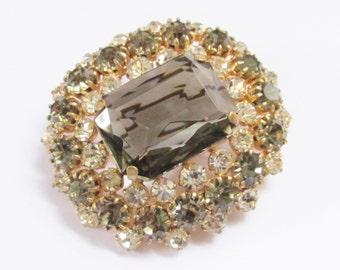 Large Vintage  Black Diamond Smoke Rhinestone Chunky Brooch