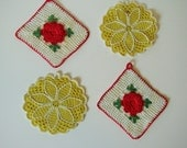 Vintage Crocheted Yellow and Red Rose Hot Pads - set of four