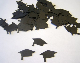 100 Black Graduation Cap Die Cuts Punch Cutout Confetti  Embellishment Scrapbook