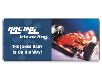 Racing Into Our Lives Car Boy Baby Shower Candy Bar Wrappers
