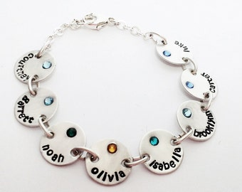Hand Stamped Bracelet Sterling silver with 10 charms and swarovski crystal birthstones