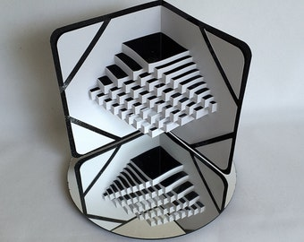 STAIRS To SUCCESS 3D Pop-Up Card Origamic Architecture Cut by Hand in White and Shimmery Metallic Black One Of A Kind