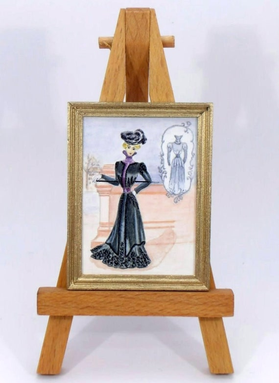 Dollhouse Miniature Painting Original Painting 1:12 scale Painting OOAK after French Fashon Plate 1899 - by Miniaturejoy