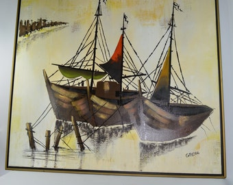 Boats Docked. Linear Painting. MCM. Large Oil on Canvas. Mid Century Oil Painting Signed and Framed. Nautical Theme. Coastal Living.