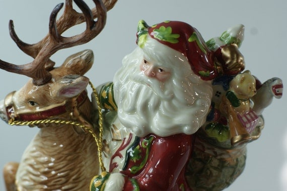 Free Ship Fitz And Floyd St Nick Amp Deer By Fighousevintage