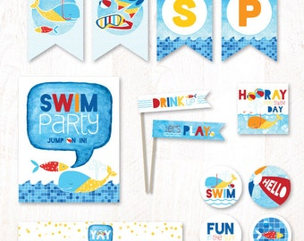 Swim Party - Instant Download PRINTABLE Party Kit