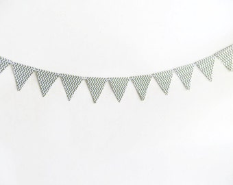Chevron Bunting Banner, Green ZigZag Streamer, Green and White, Polka Dotted Garland, Paper Bunting Banner, Party Supply