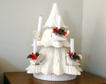 20 Inch Ceramic Christmas Tree Centerpiece Candle Holder