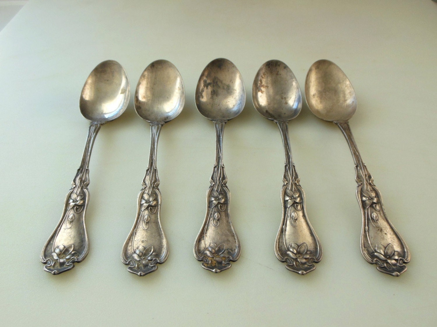5 Gorham Whiting Violet Sterling Silver Spoons