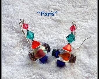 Pink Aqua Orange & Blue Earrings,Lampwork Earrings,Dangle Earrings,Heart Earrings,Glass,Bead,Beadwork,Colorful Earrings - PARIS