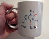Coffee Mug with Caffeine Chemical Formula Molecular Formula White color Customized name