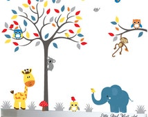 Playroom owl tree, decal wall elephant, decal owls, decal birds, wall tree stickers, grey wall decal
