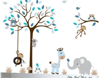 Nursery wall decal tree children's wall decals owls decals