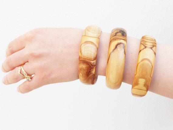 Christmas Gift Sale 25% OFF / Wooden bracelet set / Olive Wood Bangles Set / Gift for Her / Girlfriend Gift / Birthday Gift