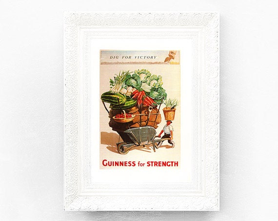 Guinness for Strength Print Original Adv..Book Plate 8.25 x 11.5 inches Ireland Brewerania Advert Dig Victory Gilroy Illustration