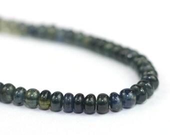 Sapphire Smooth Rondelles 1 Inch Deep Teal Blue Shaded Precious Gemstones Birthstone