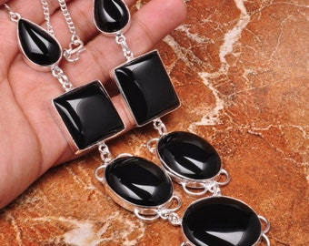 Natural  Black Onyx silver plated necklace (#J449)